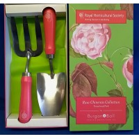 ROYAL HORTICULTURAL SOCIETY ROSA CHINENSIS TROWEL & FORK SET - MID SEASON SALE – 30% OFF – WAS £26.99